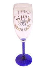 8.5in Happy 2000 Purple/ Green/ Gold Champagne Glass