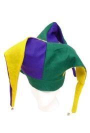 7in Tall Felt Mardi Gras Jester Hat W/3in Brim W/Bells