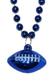 7mm 33in Blue Beads with Football Medallion