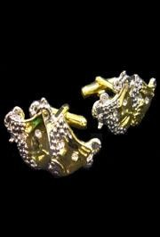 3in x 1in Comedy Tragedy Face Cufflinks w/ Rhinestones