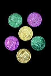 2in Plastic Metallic Purple/ Green/ Gold Coins/ Doubloons