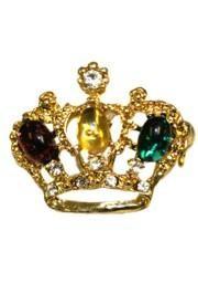 1in x 1in Mini Purple/ Green/ Gold Rhinestone Crown Pin/ Brooch
