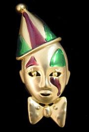 3in x 1in Purple/ Green/ Gold Clown w/ Tear Pin/ Brooch