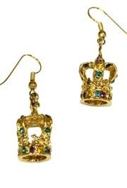 3D Purple/ Green/ Gold Rhinestone Crown Earrings