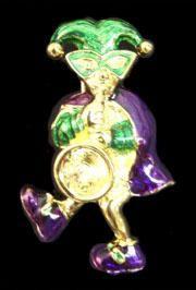 2in x 1in Purple/ Green/ Gold Jester Pin/ Brooch w/ Long Saxophone