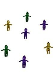 1in Small King Cake Baby Metallic Purple/ Green/ Gold