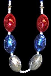 48in Red/ Blue/ Silver Football On Pearl Bead with Star Spacers