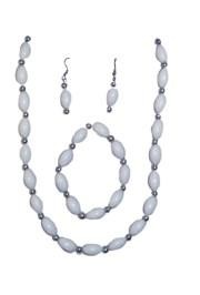 White Football Shaped Necklace Bracelets and Earrings Bead Set with Silver Spacers