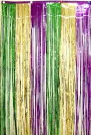 3ft Wide x 8ft Tall Purple/ Green/ Gold Metallic Door Curtain