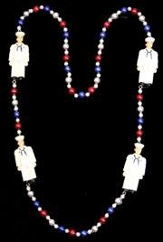 42in United States Navy Necklace w/ Metallic Red/ Blue/ Silver Beads