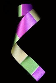 100ft x 2in Purple/ Green/ Gold Metallic Plastic Streamer
