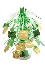 18in St Patricks Metallic Green/ Gold Shamrock/ Clover w/ Pot O Gold Centerpiece
