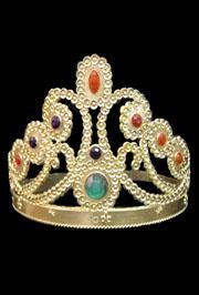 5in Jeweled Gold Plastic Tiara