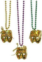 Gold Striped Mask Necklace
