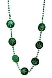 44in Metallic Green Marijuana Medallion Beads