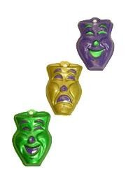 4in x 3in Metallic Purple/ Green/ Gold Plastic Comedy/ Tragedy Face