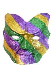 8in x 9in Purple/Green/Gold Glittered Devil Face Mask