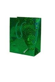 5.5in x 4.5in x 2.5in Green Hologram Shopping Bag