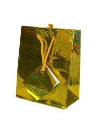 9in x 7in x 4in Gold Hologram Shopping Bag