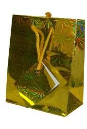 18in x 13in x 4in Gold Hologram Shopping Bag