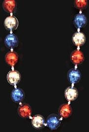 42in 40mm Disco Ball Shape  Red/ Blue/ Silver Beads