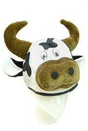 10in Tall Plush Cow Head Hat