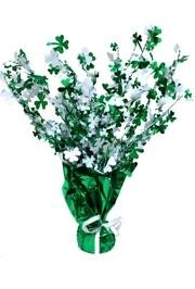15in Metallic Green/ White St Patricks Shamrock/ Clover Centerpiece