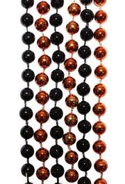 7mm 33in Black and Metallic Orange Mardi Gras Beads