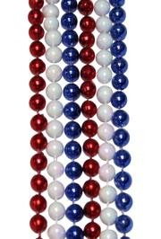 33in 7mm Round Metallic Red/ White AB/ Blue Beads