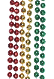 7mm 33in Metallic Red, Green, and Gold Mardi Gras Beads