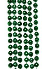 7mm 33in Round Green Mardi Gras Beads