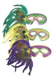 Assorted Purple, Green, and Gold Peacock Feather Masquerade Mask