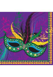 5in x 5in Mardi Gras Mask Beverage Napkins