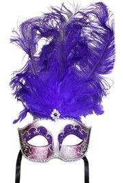 Purple and Silver Paper Mache Venetian Masquerade Mask With Glitter Accents and With Purple Large Ostrich Feathers