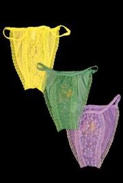 Lace Panties With Mardi Gras Print