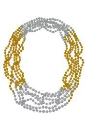 33in 7mm Round 4 Section Yellow Clear Coat/ White Pearl Beads
