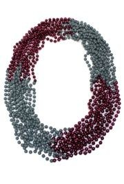 33in 7mm Round 4 Section Grey CC/ Metallic Burgundy Beads