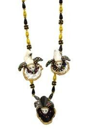 Black and Gold Jester Faces Necklace