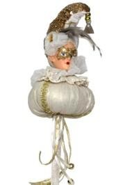 12in Tall x 5in Wide Italian Style Plush Doll With Feathers And Sequin Hat On Stick