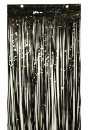3ft Wide x 8ft Drop Black Metallic Curtain
