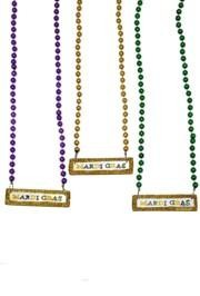 33in 7.5mm Purple/ Green/ Gold Bead w/ Glitter Mardi Gras Label
