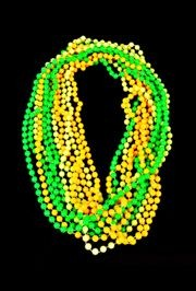 Stand out at all the night parades with our great glow in the dark beads! Mardi Gras Glow In The Dark Beads, Halloween Beads, and Pumpkin beads.