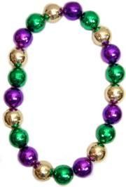 48in 60mm Disco Ball Shape Purple/ Green/ Gold Beads