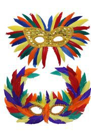 Assorted Rainbow Feather Masquerade Mask