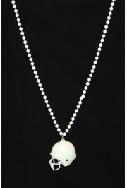 White Football Helmet Necklace