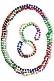 48in 12mm Round 6 Section Metallic Rainbow Beads
