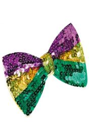 5.5in x 3.5in Mardi Gras Sequin Bow Tie