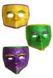 7in x 7in Plastic Purple Green or Gold Glitter Face Mask