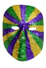 8in x 7in Plastic Multi Purple/ Green/ Gold Glitter Mask