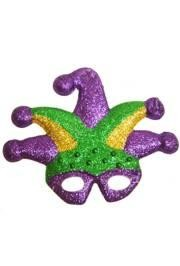 8 3/4in Tall x 11 1/4in Wide Plastic Purple, Green and Gold Jester Glitter Mask